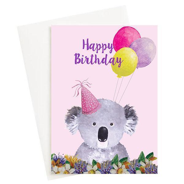 Happy Birthday Koala Greeting Card Pink   Trada Marketplace