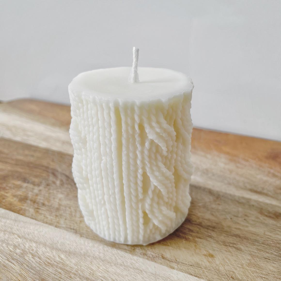 Creamy White   Wool-Knit Pillar Candle   Trada Marketplace