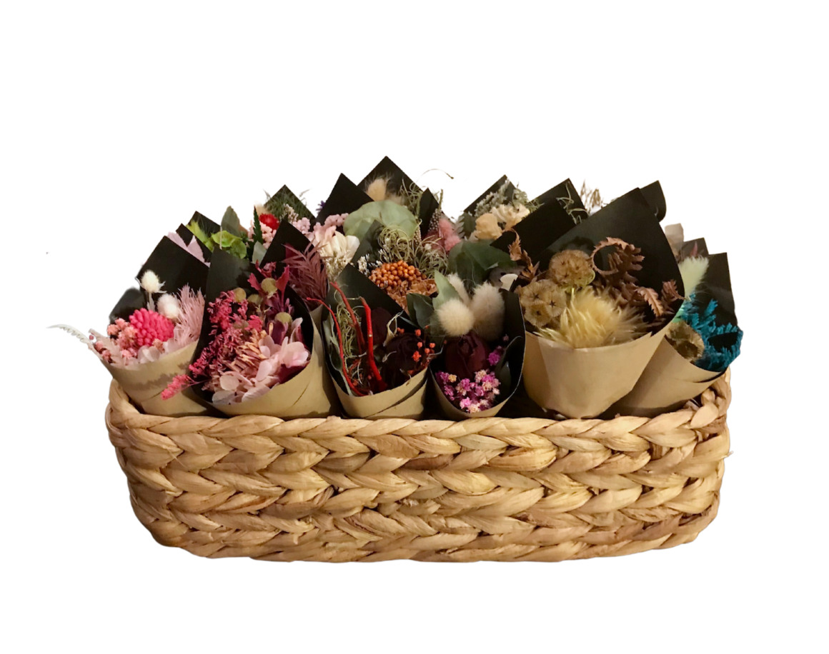 Basket of 20 mini dried bouquets - 13cm - Choose your combo | Trada Marketplace
