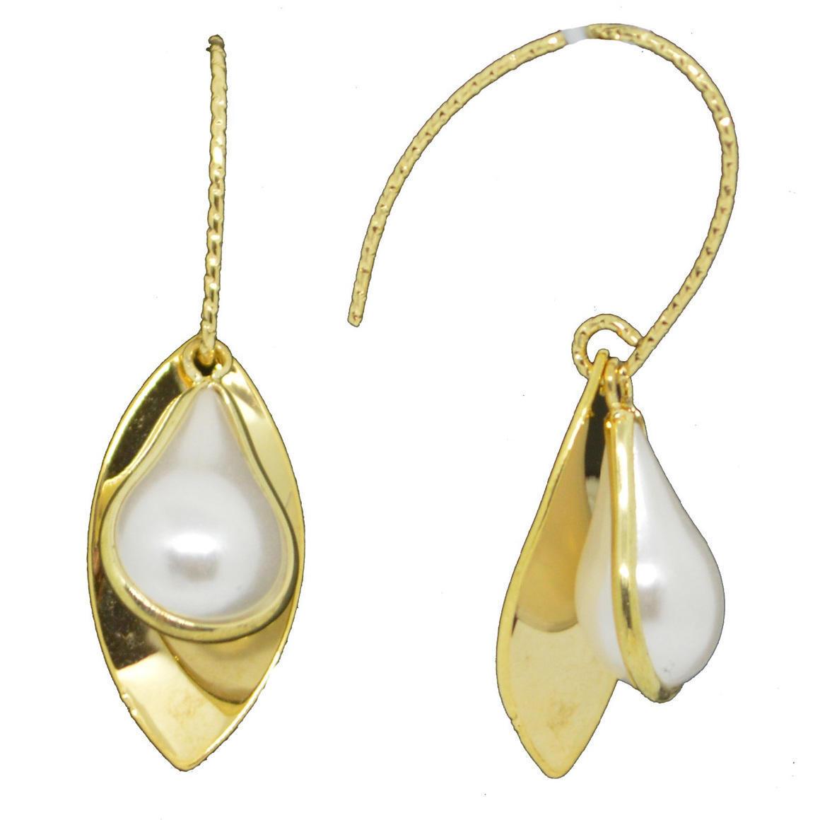 Pearl Ellipse gold Earrings | Trada Marketplace