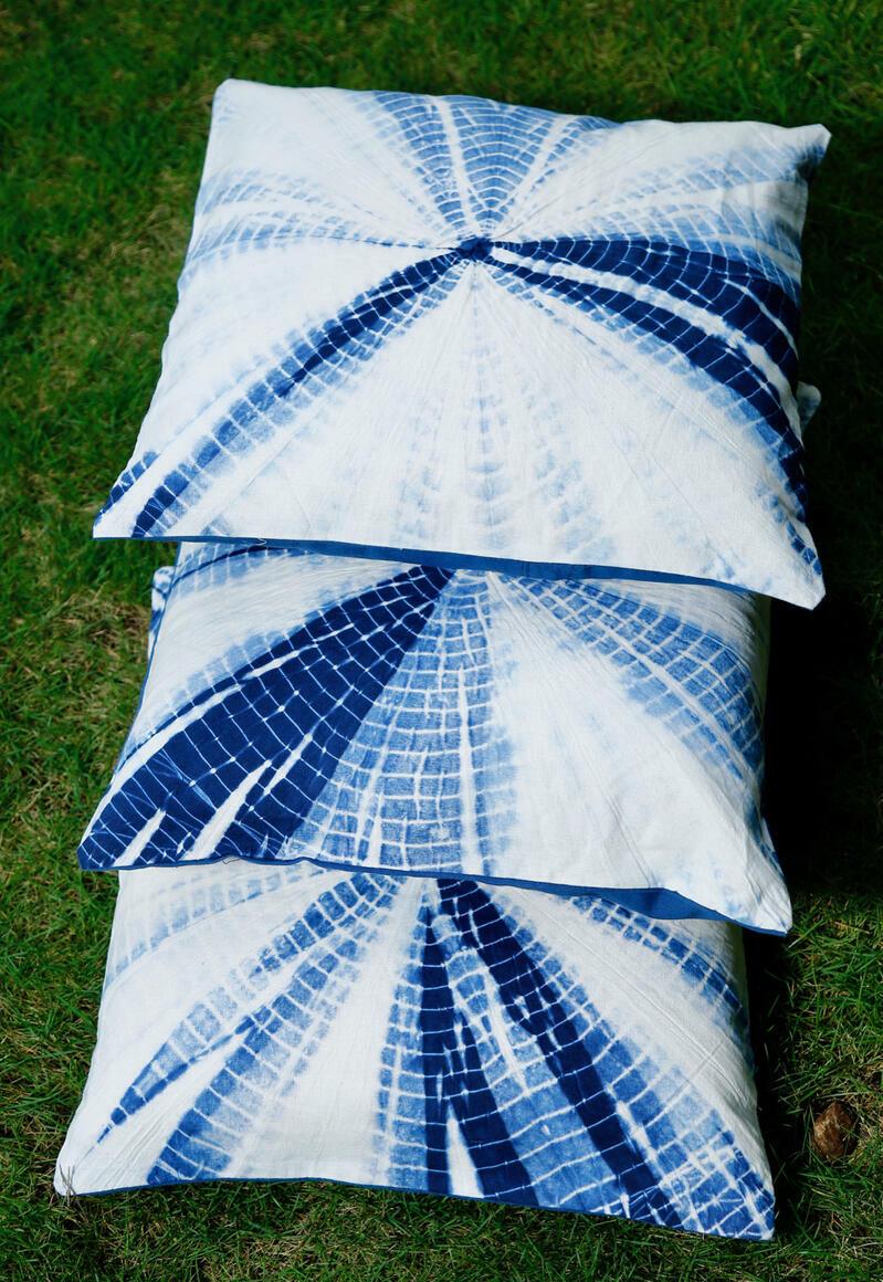 Noa  Indigo  Blue  Tie  Dye  Cushion  Covers | Trada Marketplace