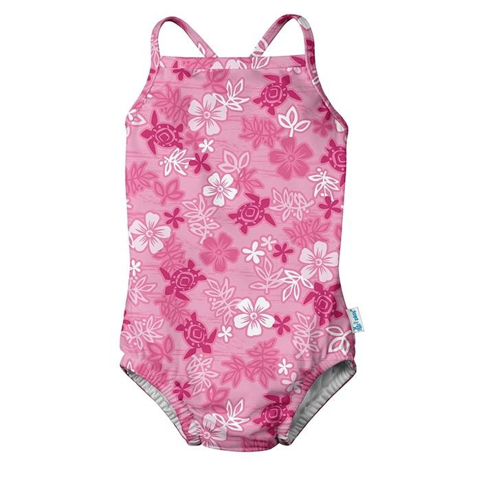 1pc Ruffle Swimsuit with Built-in Reusable Absorbent Swim Diaper-Pink Hawaiian Turtle | Trada Marketplace