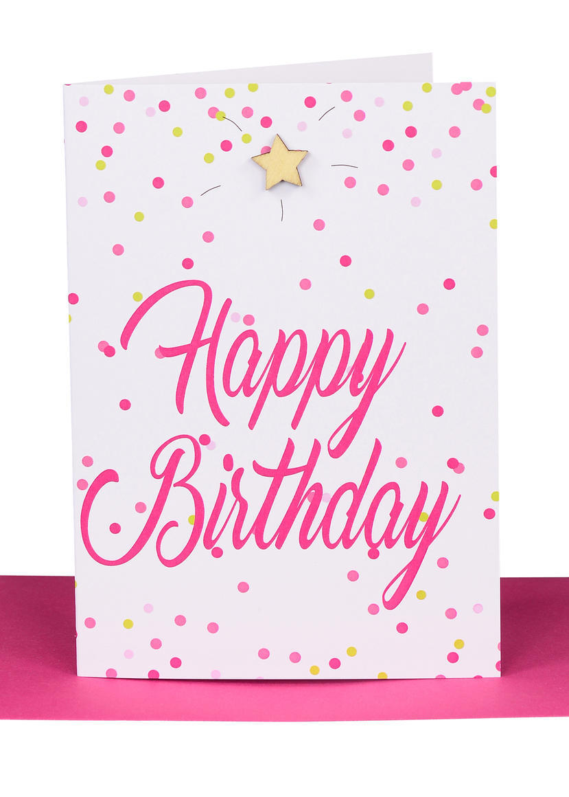 Happy Birthday Gift Card - Hot Pink Confetti | Trada Marketplace