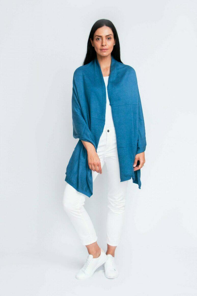Cashmere Travel Wrap | Cerulean Blue | Trada Marketplace
