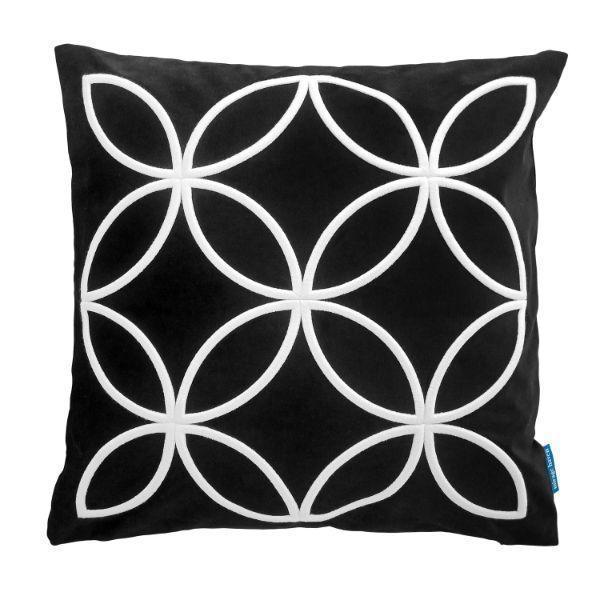DARLEY Black and White Circle Pattern Embroidered Velvet Cushion Cover 50 cm by 50 cm   Trada Marketplace