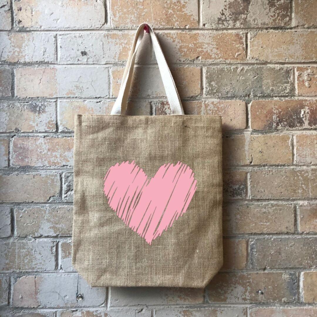 Scribbly Heart Junior Casual Shopper Pink   Trada Marketplace