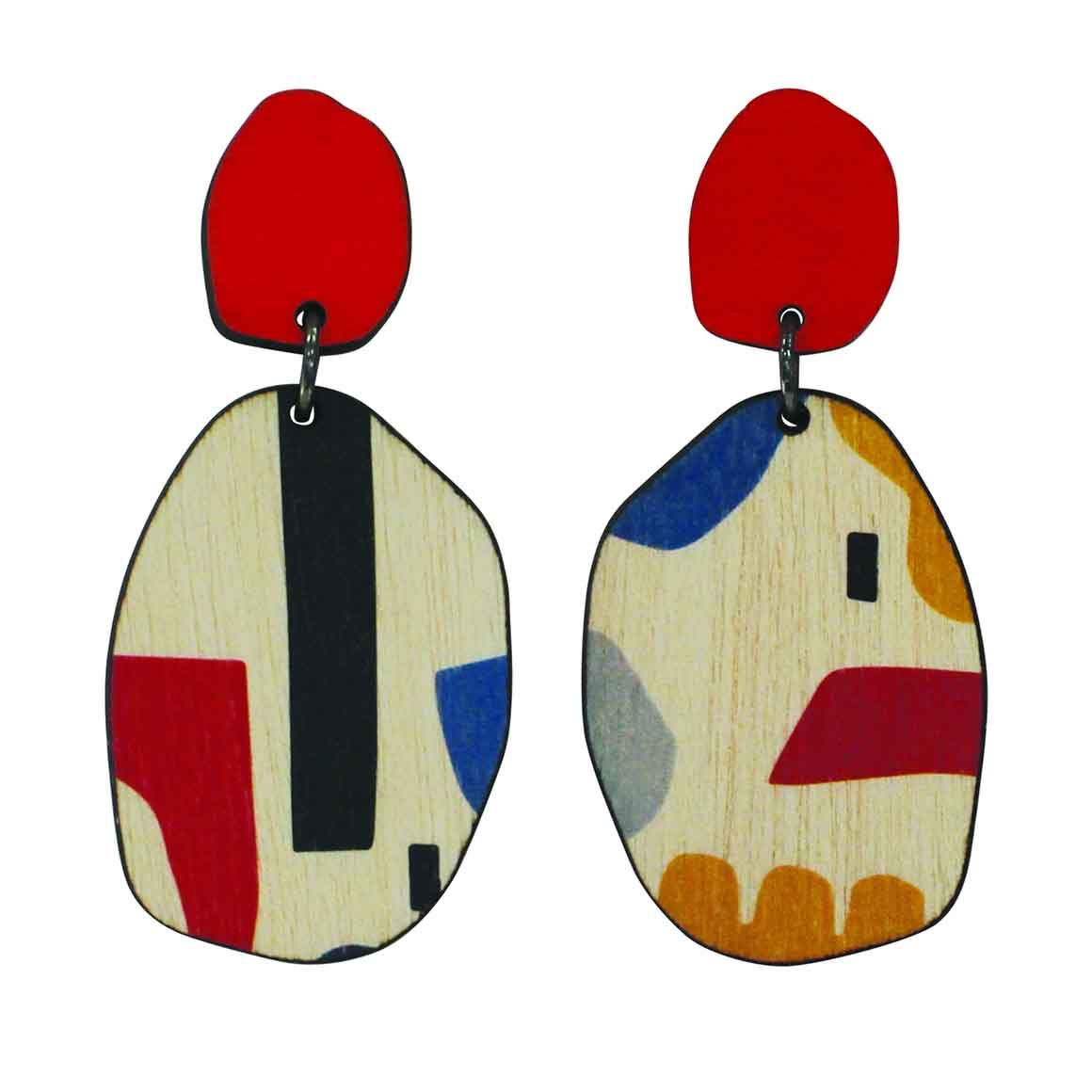 2 tiered Red abstract earrings   Trada Marketplace