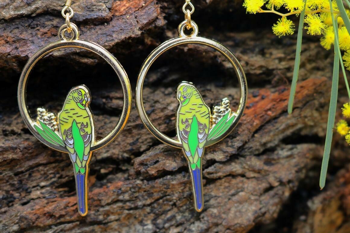 Green Budgie Earrings | Trada Marketplace