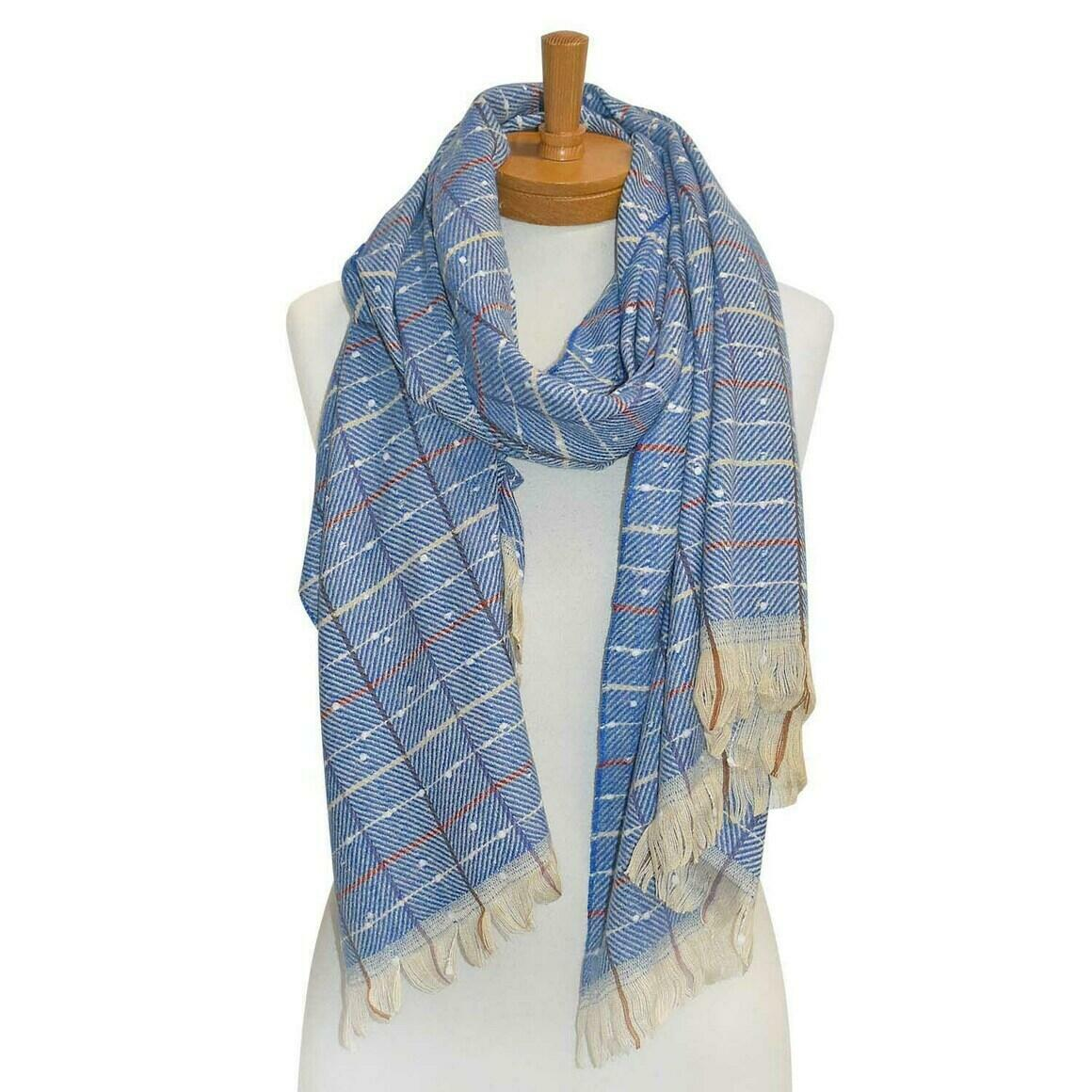 THSS2223: Blue: Dots and Lines Scarf | Trada Marketplace