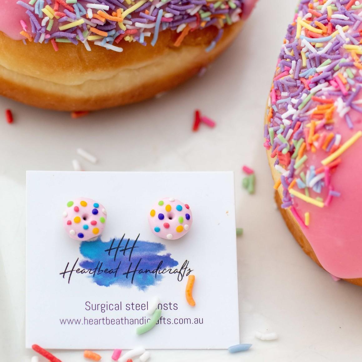 Pink donut handmade stud earrings   Trada Marketplace