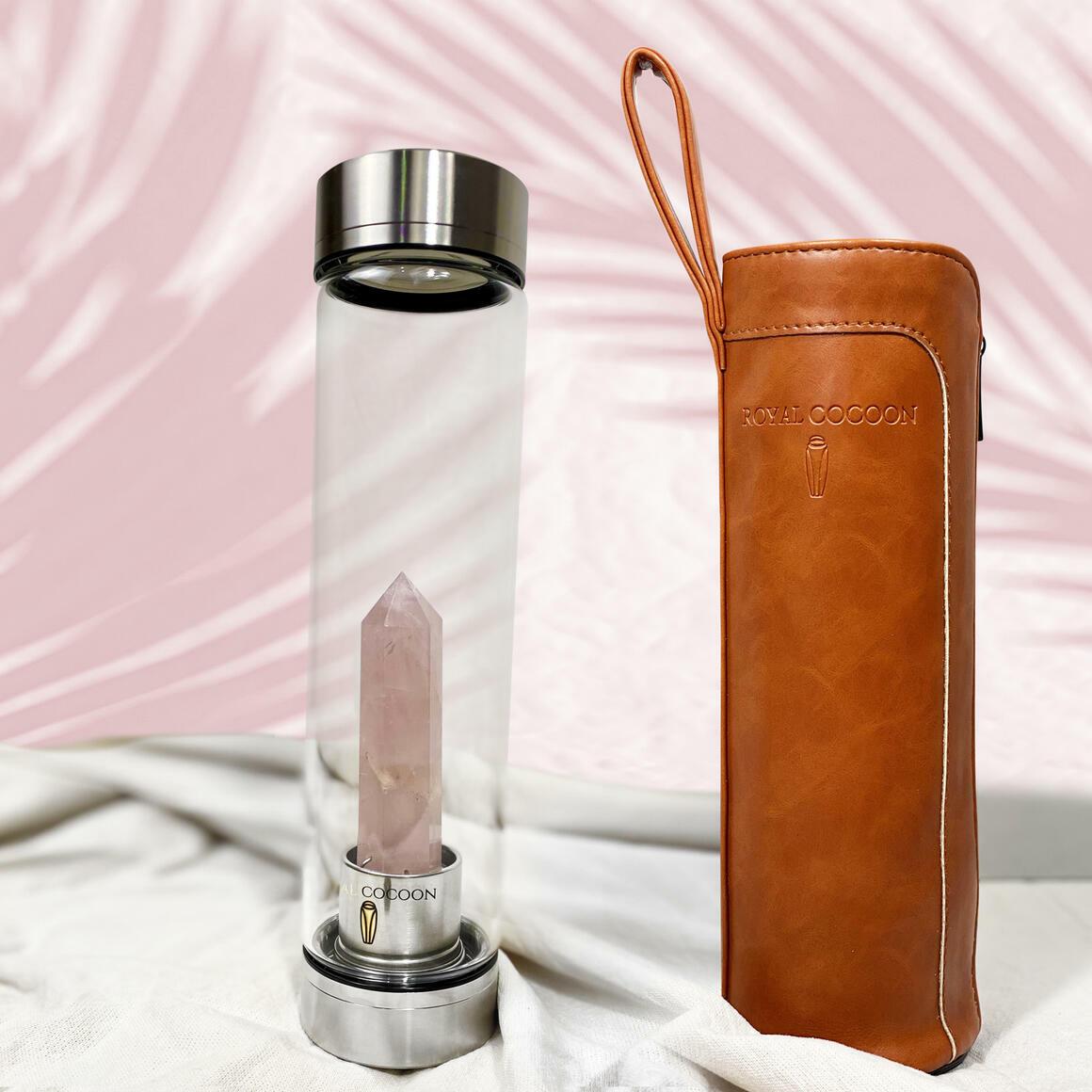 Rose Quartz ☽ Energy Rich Hydration Bottle - Stainless Steel   Trada Marketplace