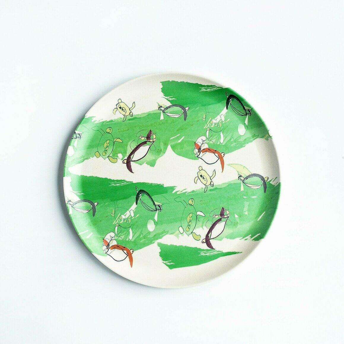 Bamboo plate with green turtle design | Trada Marketplace