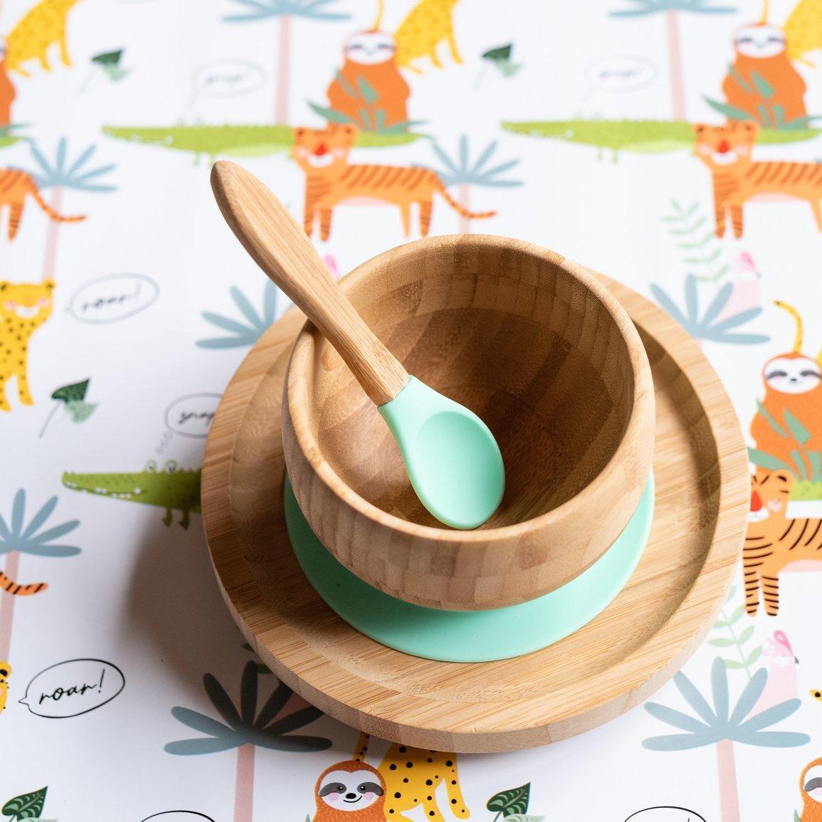 Bamboo Suction Feeding Set - MINT   Trada Marketplace