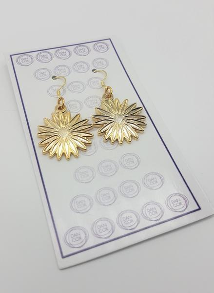 Daisy Yellow Gold Plate Alloy Earrings Stainless Steel Hooks  | Trada Marketplace