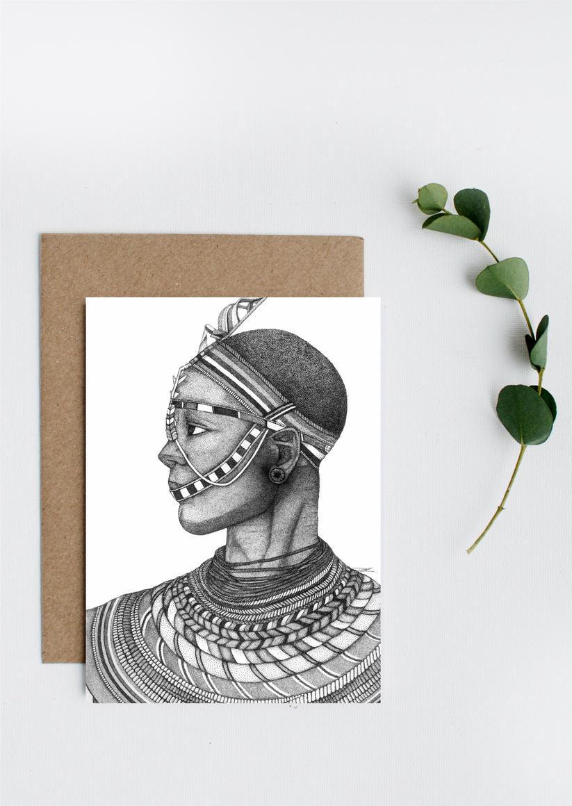 African Warrior Greeting Card   Trada Marketplace