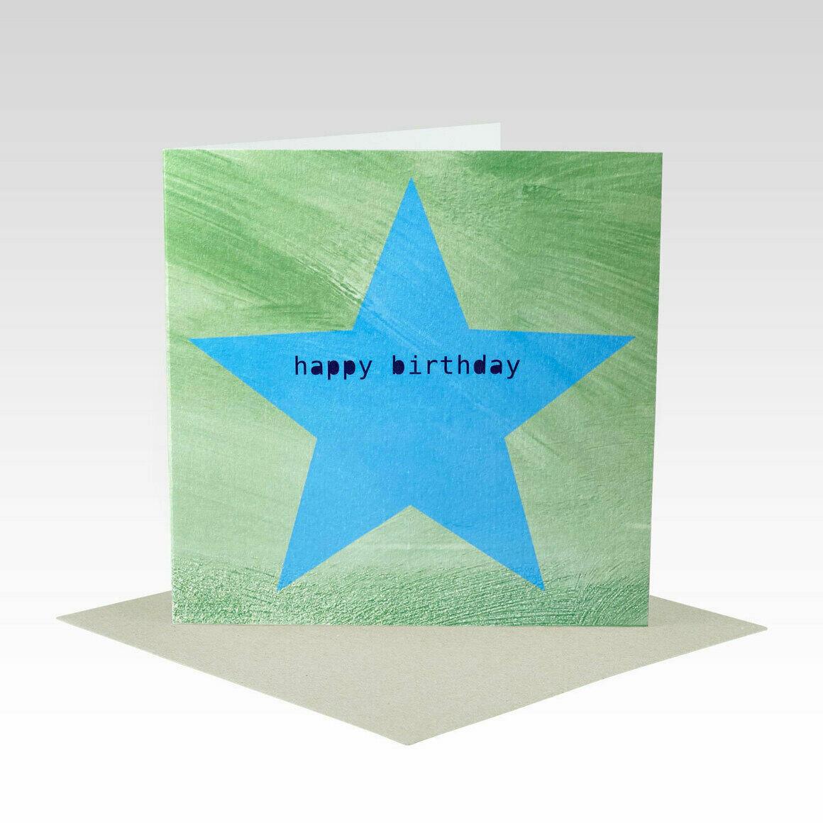 HB086 – Blue Green Star Birthday Card   Trada Marketplace
