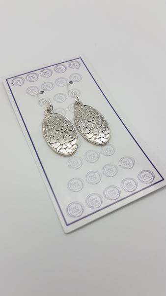 Octo Oval Silver Plate Alloy Earrings Stainless Steel Hooks | Trada Marketplace