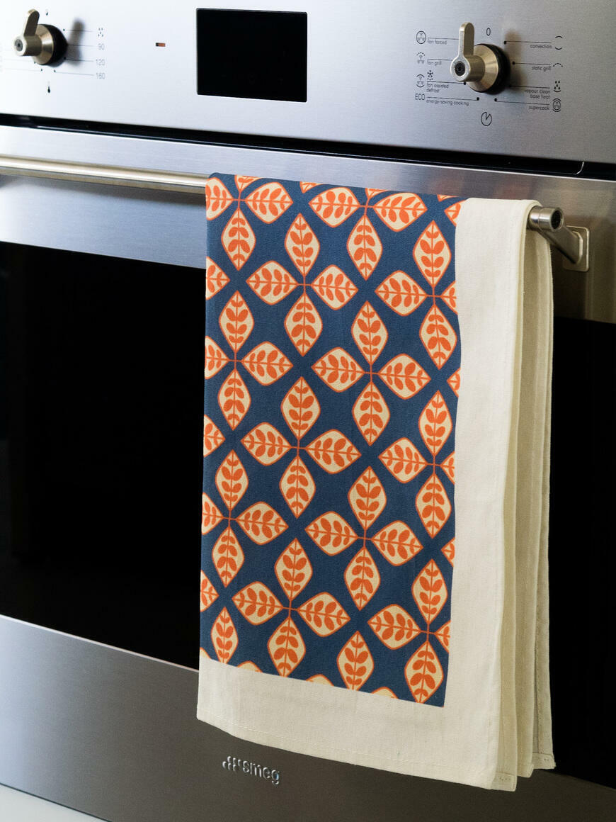Orange Floral Geometric Tea Towel   Trada Marketplace