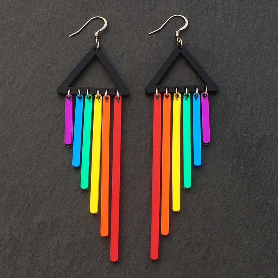 Dangle Earrings - RAINBOW CHIMES - Red | Trada Marketplace