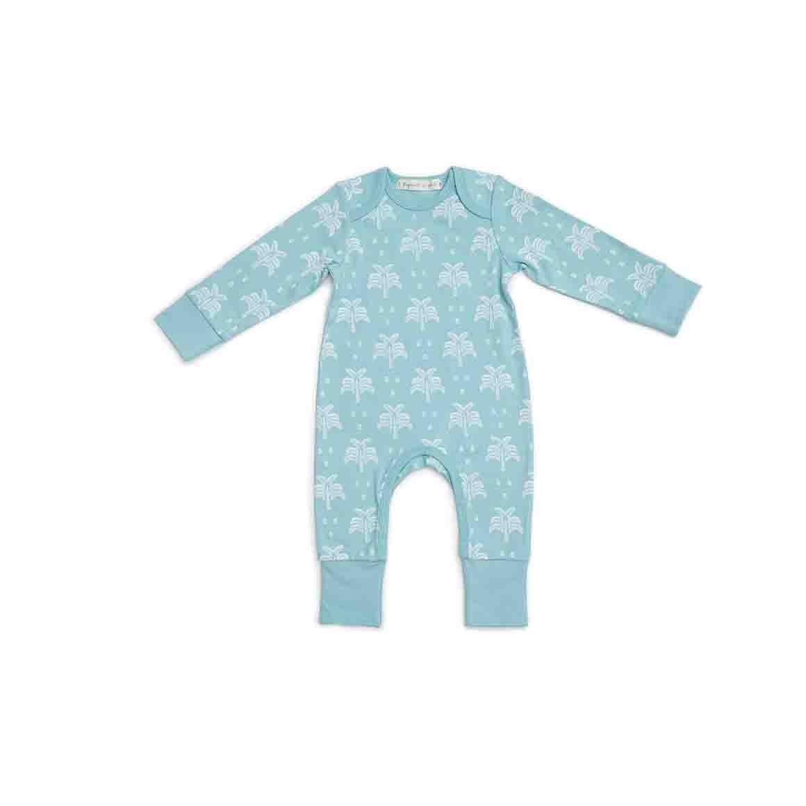 Baby Sleepsuit - Long Arm/Long Leg (Aquatic Blue In Palms & Pineapples Print)   Trada Marketplace
