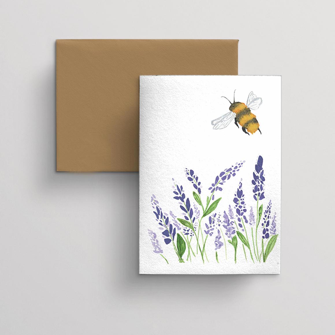 Greeting card single Lavendar and Bee | Trada Marketplace