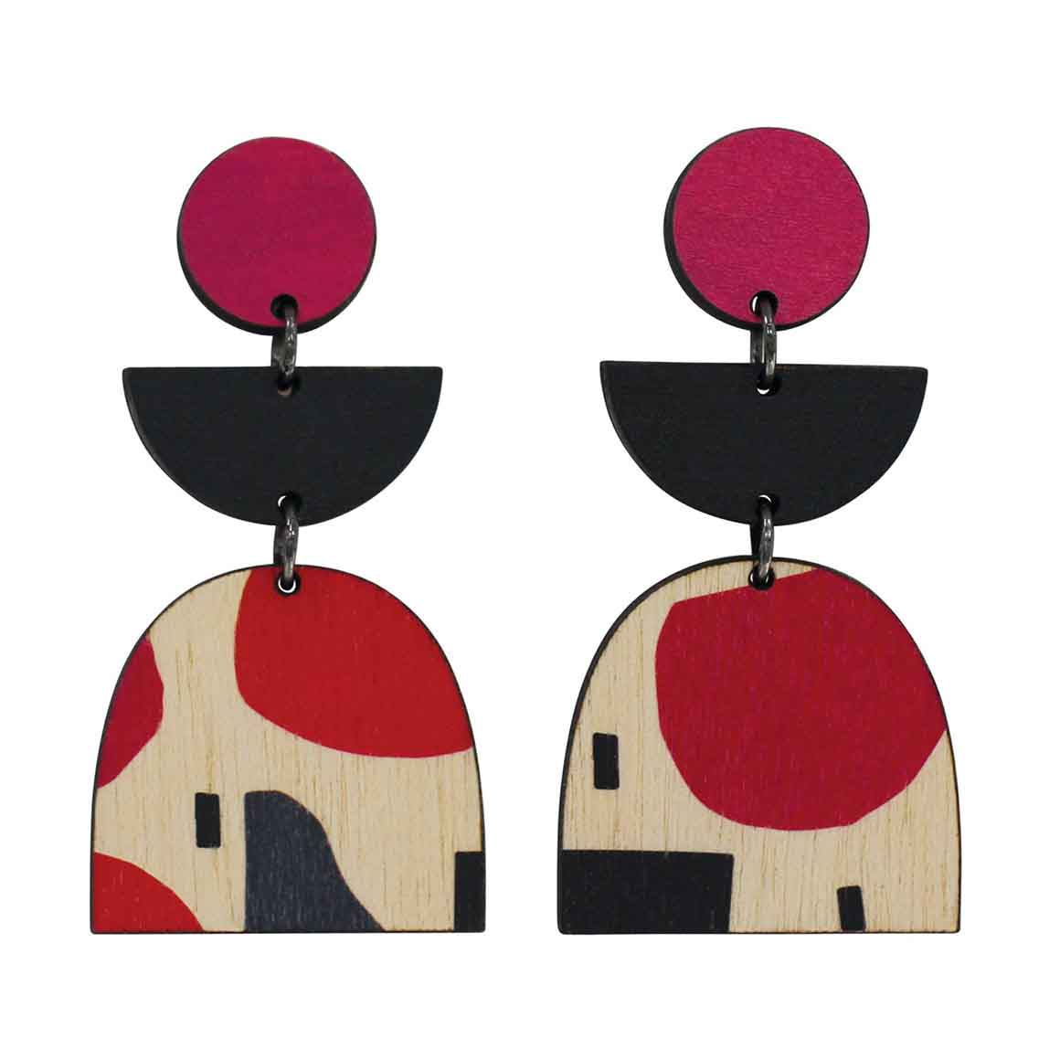 3 tiered Abstract earrings with dark red and black   Trada Marketplace
