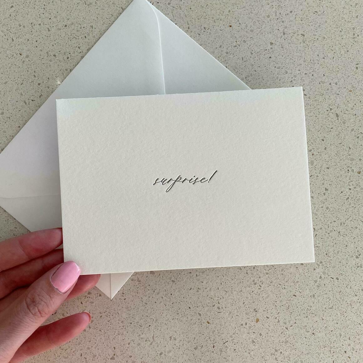 Surprise!   Letterpress Greeting Card   Trada Marketplace