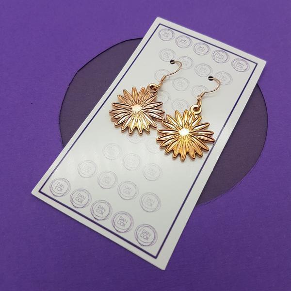 Daisy Rose Gold Plate Alloy Earrings Stainless Steel Hooks  | Trada Marketplace