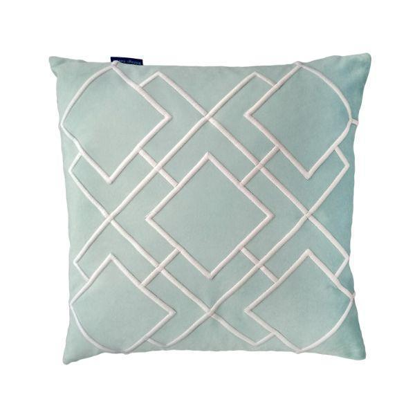DARLEY Fog Blue and White Squares Embroidered Velvet Cushion Cover 50 cm by 50 cm   Trada Marketplace