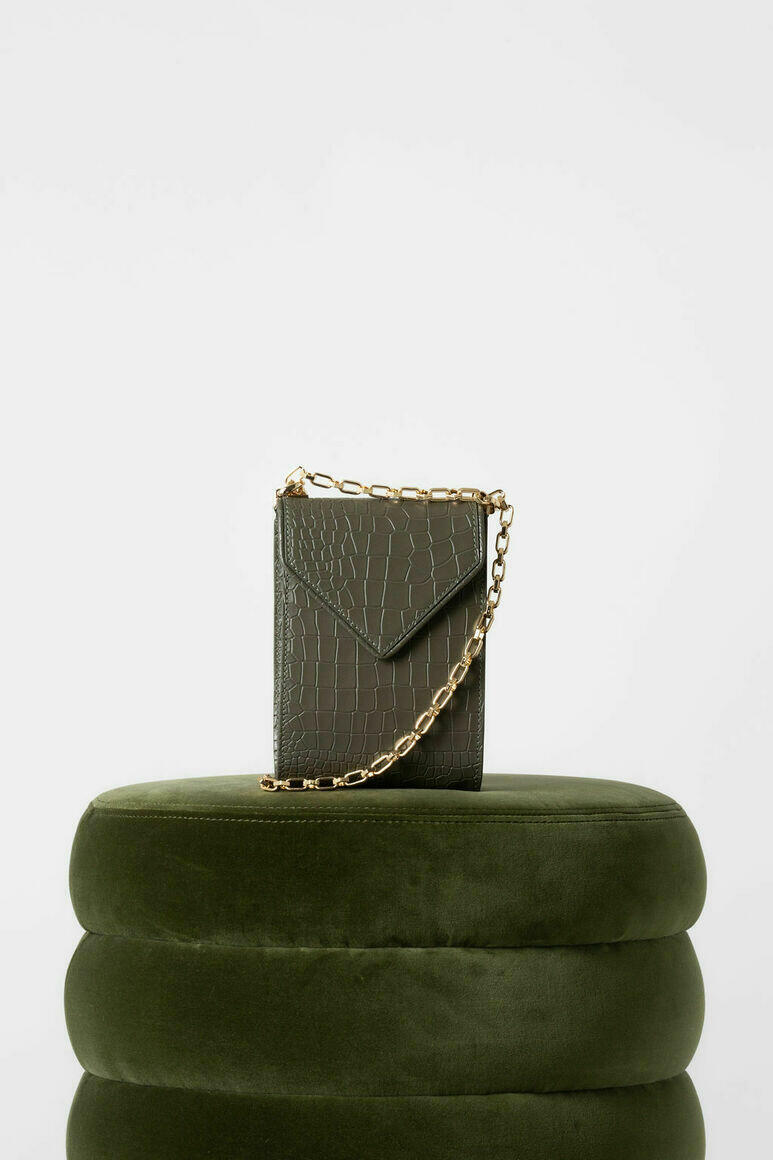 Isabel Phone Pouch in Army Green Croc   Trada Marketplace