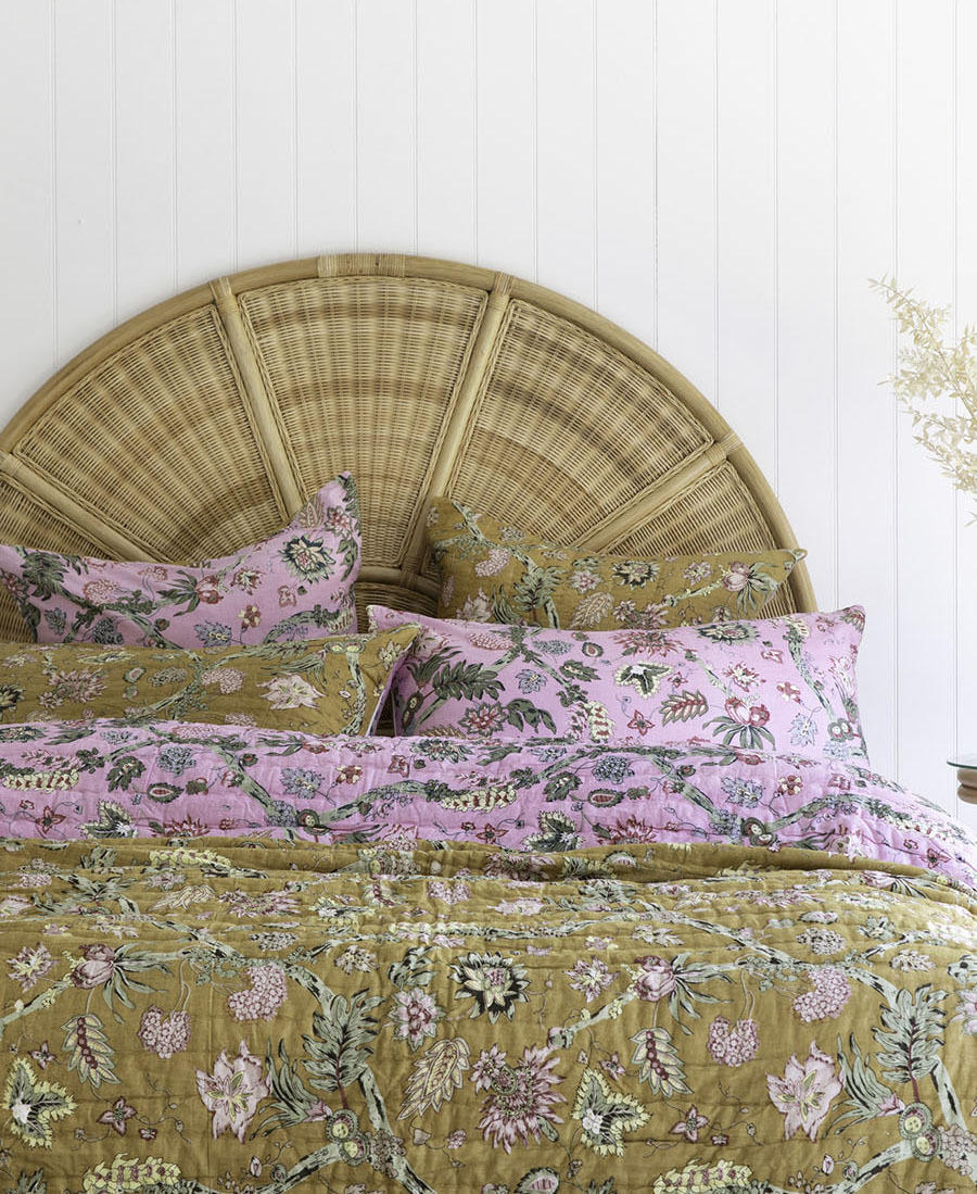 Dull Ochre / Pink Floral Vine Cotton Pillowcase / Euro   Trada Marketplace