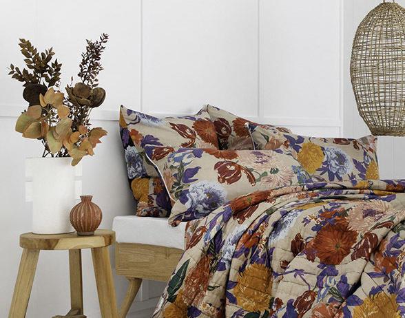 Taupe / Black Floral Garden Cotton Pillowcase / Euro   Trada Marketplace