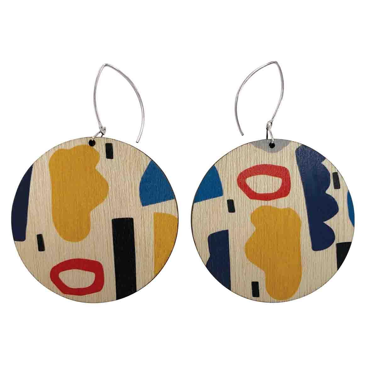Abstract shapes circle earrings   Trada Marketplace