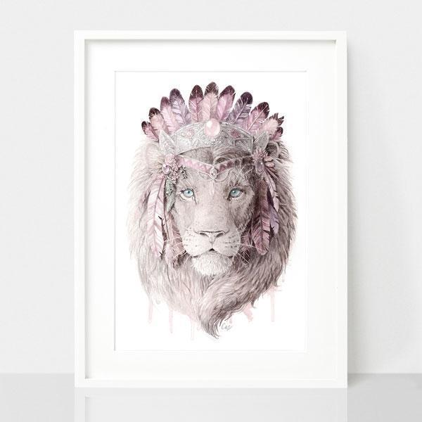Bohemian Lion - Dusty Pink Print | Trada Marketplace