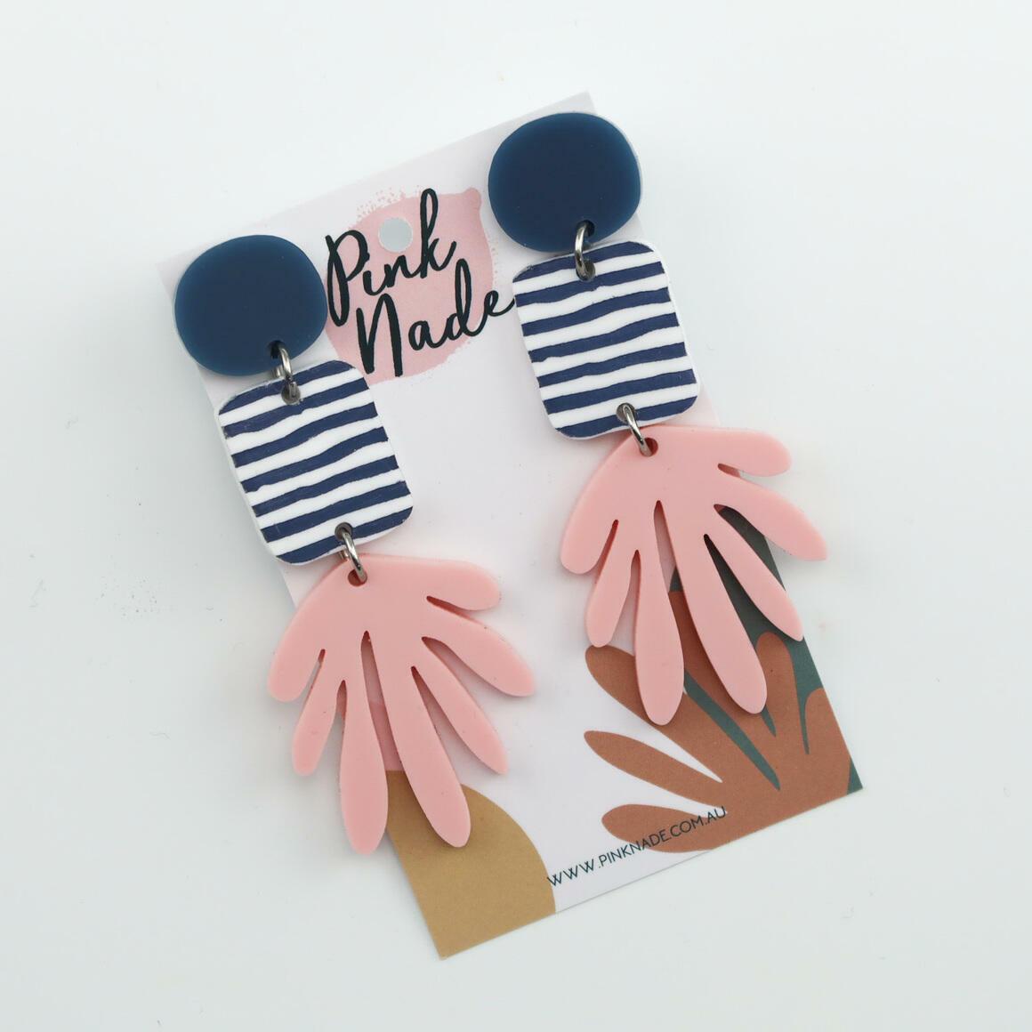 The 'Karly' Blue Stud + Slate Grey  Stripe + Pink | Trada Marketplace