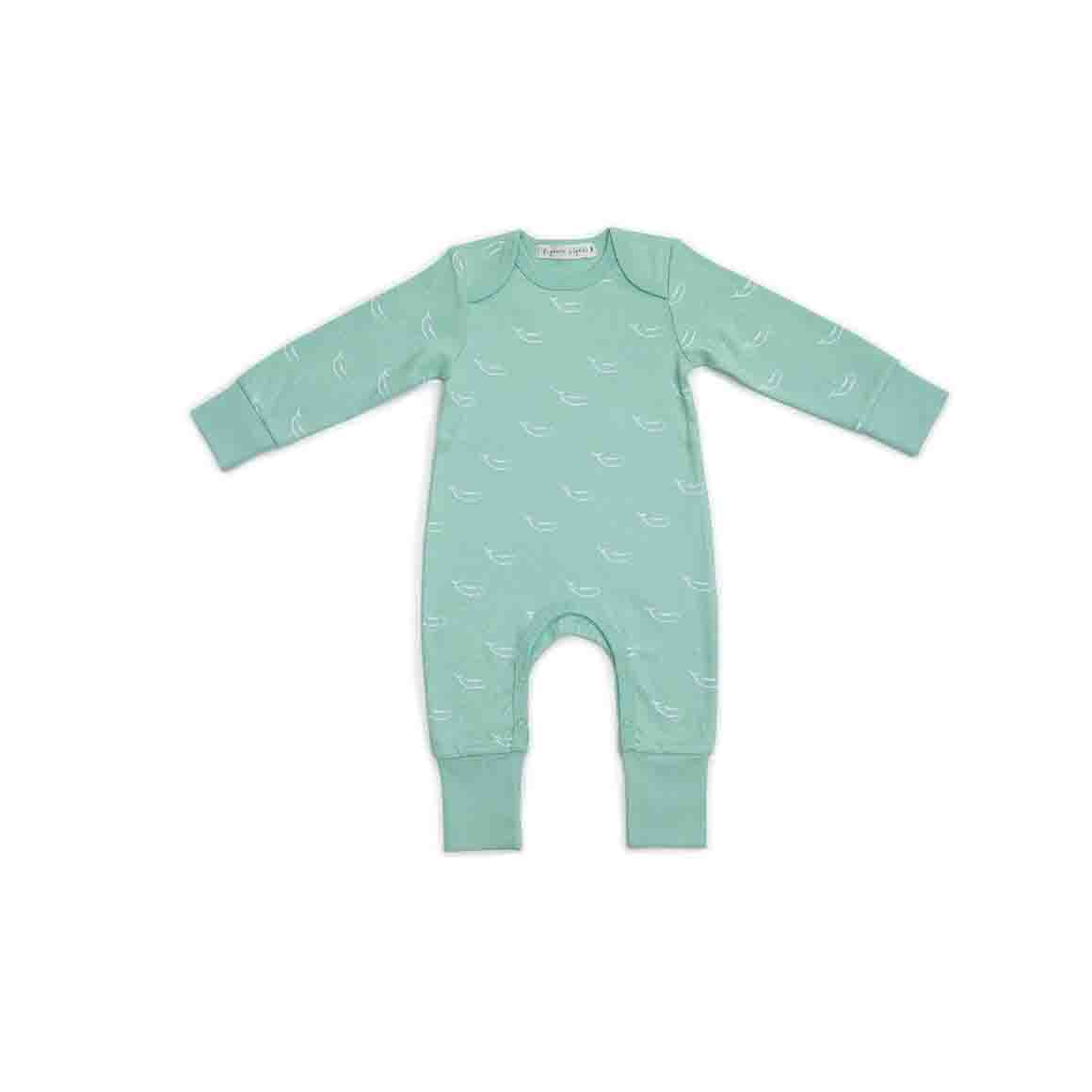 Baby Sleepsuit - Long Arm/Long Leg (Sage Green In Tiny Whales Print)   Trada Marketplace