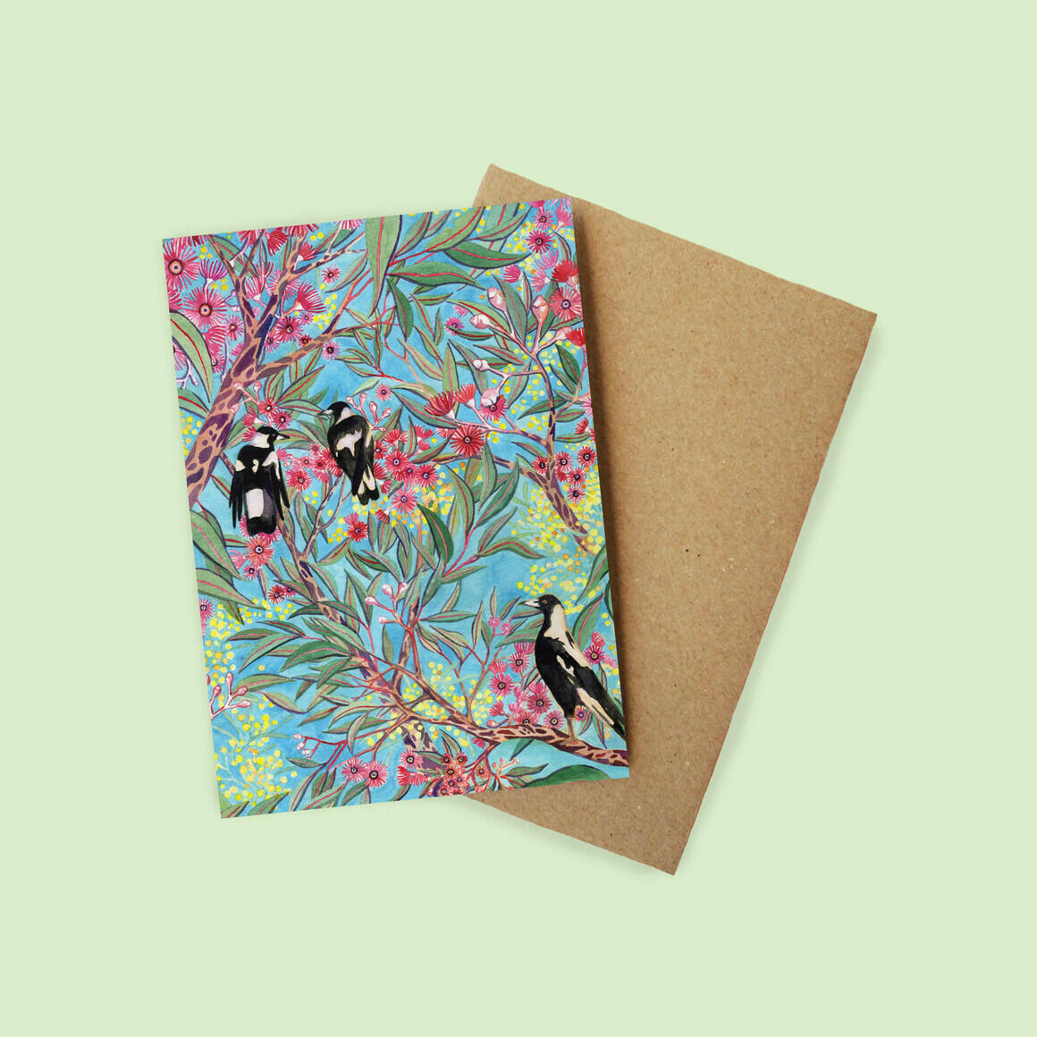 Greeting Card - Magpies in the Gum Blossom | Trada Marketplace