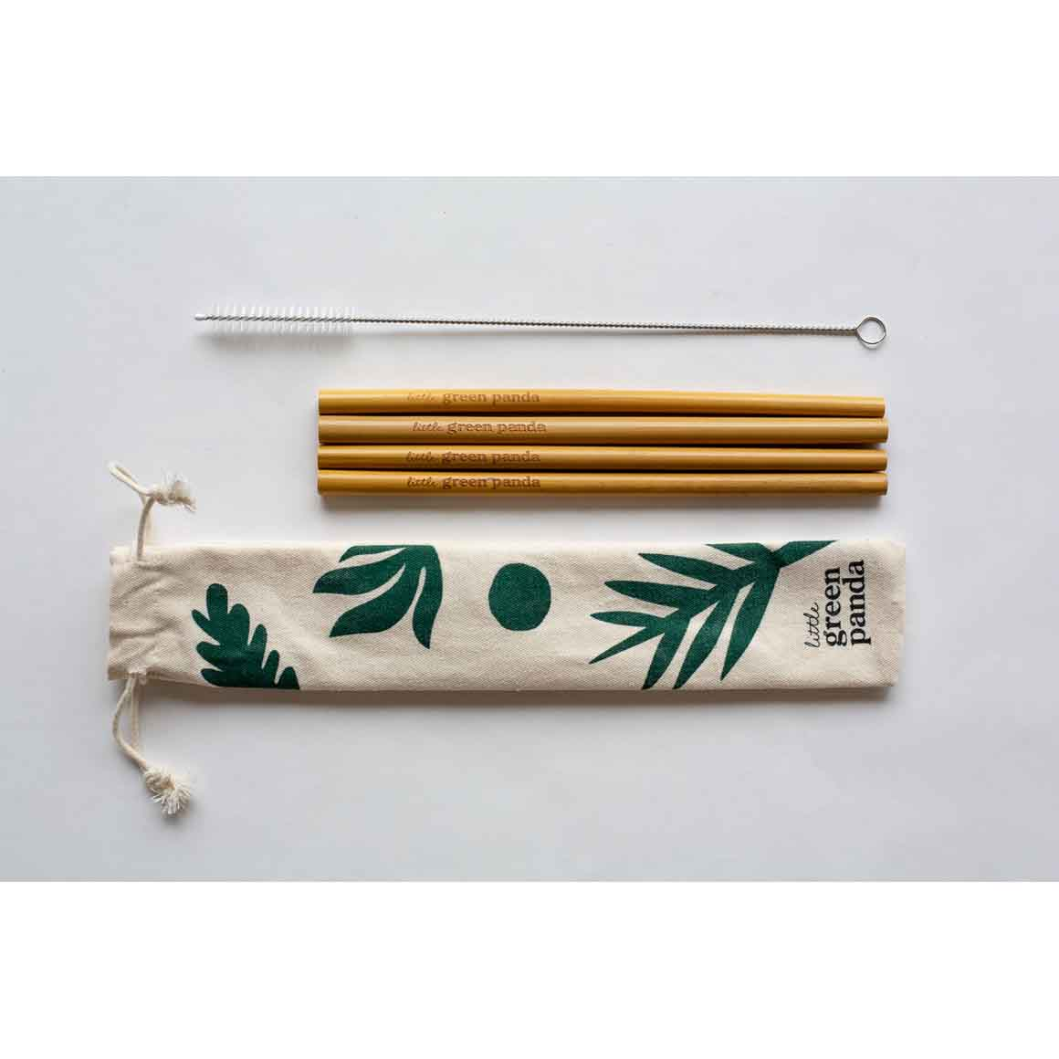 4 Bamboo Straws 1 Cleaning Brush Travel Pouch | Trada Marketplace