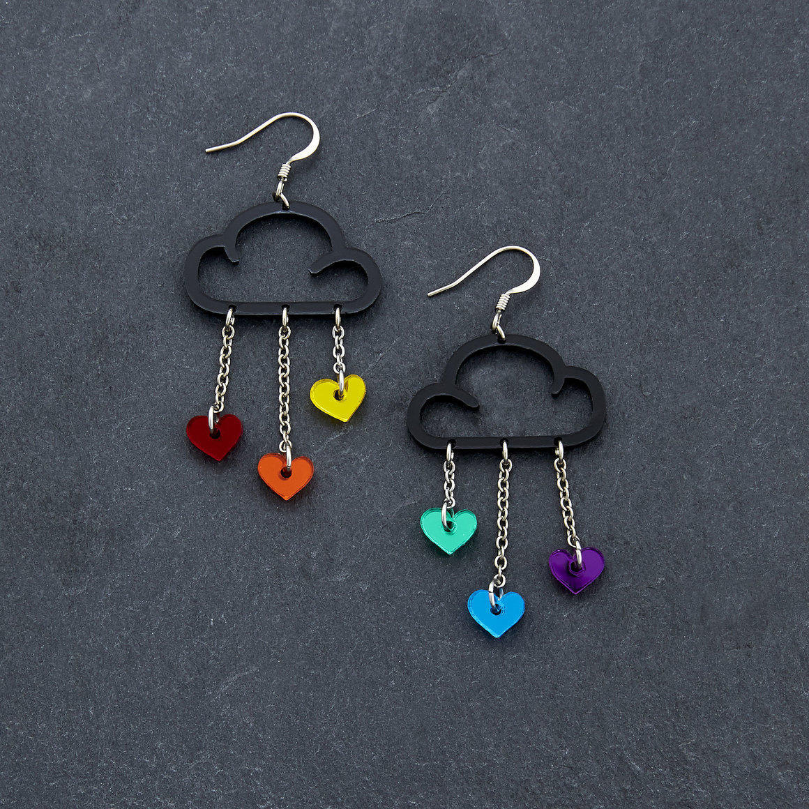 Dangle Earrings - LOVE RAIN - Black Rainbow | Trada Marketplace