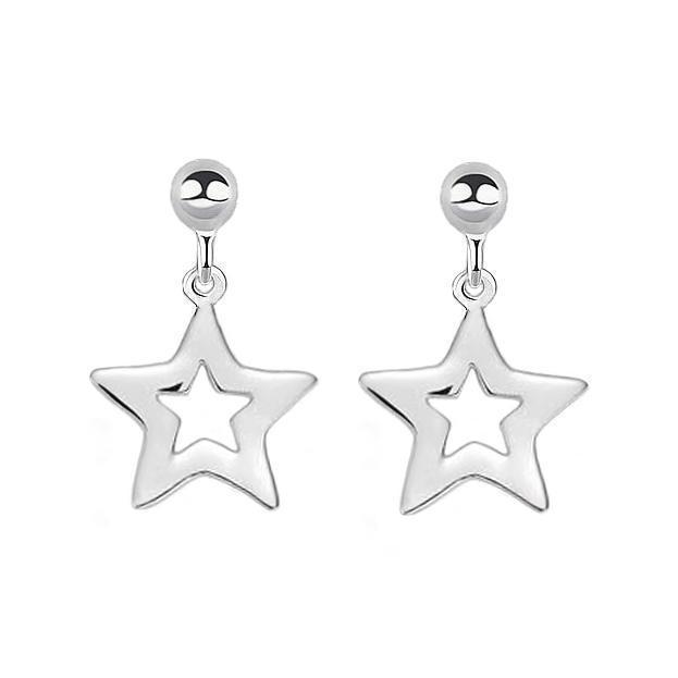 Open Star Drop Earring Studs - Sterling Silver | Trada Marketplace