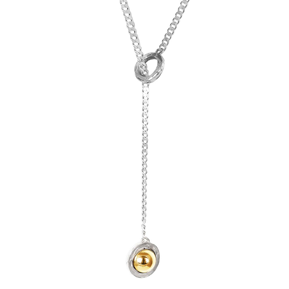 Atticus Large Charm Lariet Necklace | Polished Gold Detail | Trada Marketplace