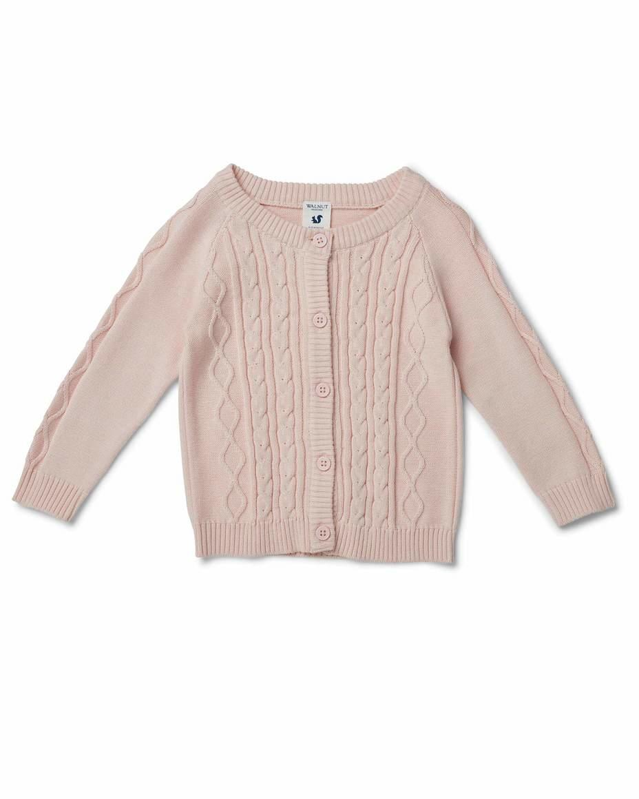 Bodhi Cable Knit Cardigan Pale Pink | Trada Marketplace