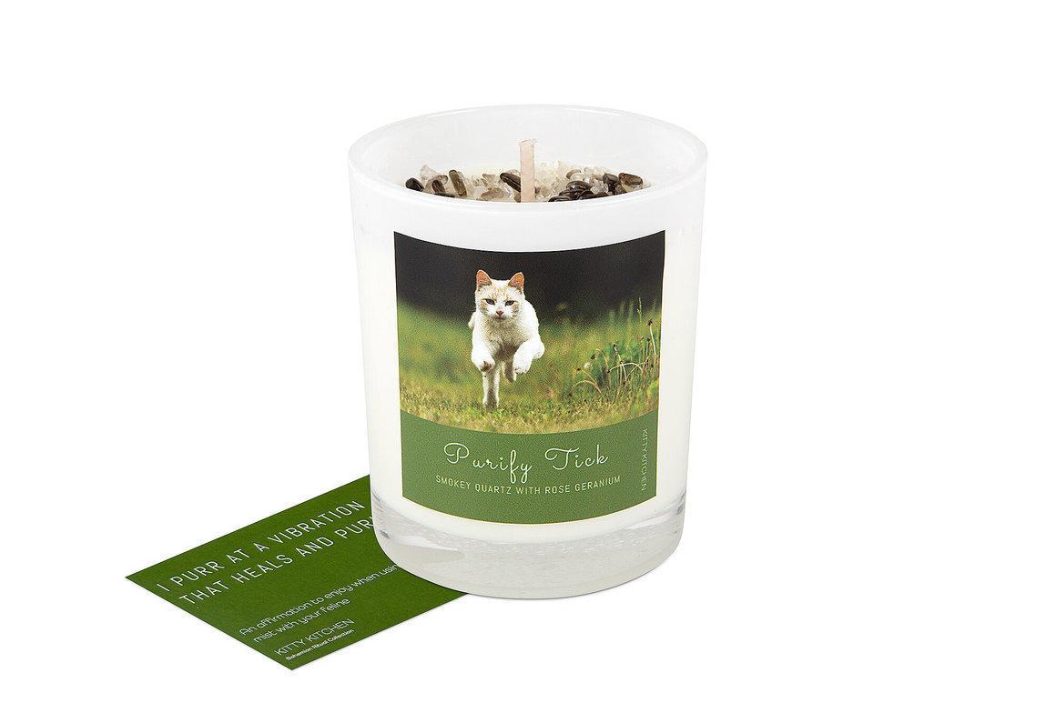 Purify Tick Ritual Candle - Smokey Quartz with Rose Geranium    Trada Marketplace