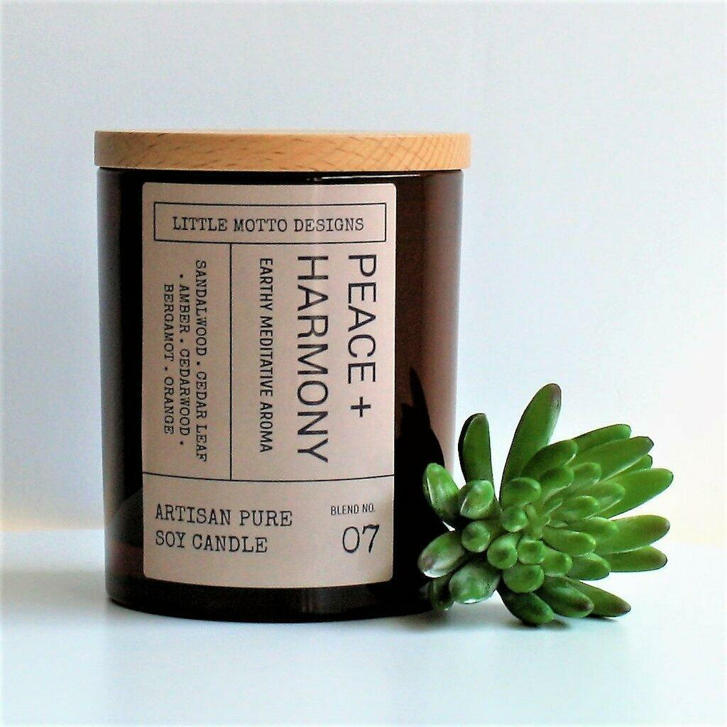Amber Brights Large Boxed Soy Candle - Peace & Harmony | Trada Marketplace