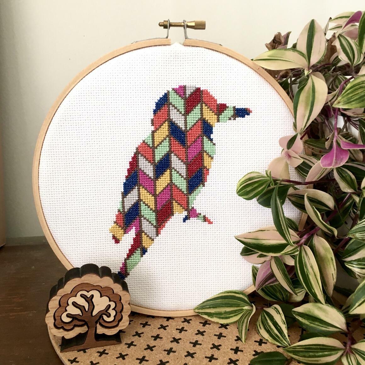 Chevron kookaburra cross stitch kit   Trada Marketplace