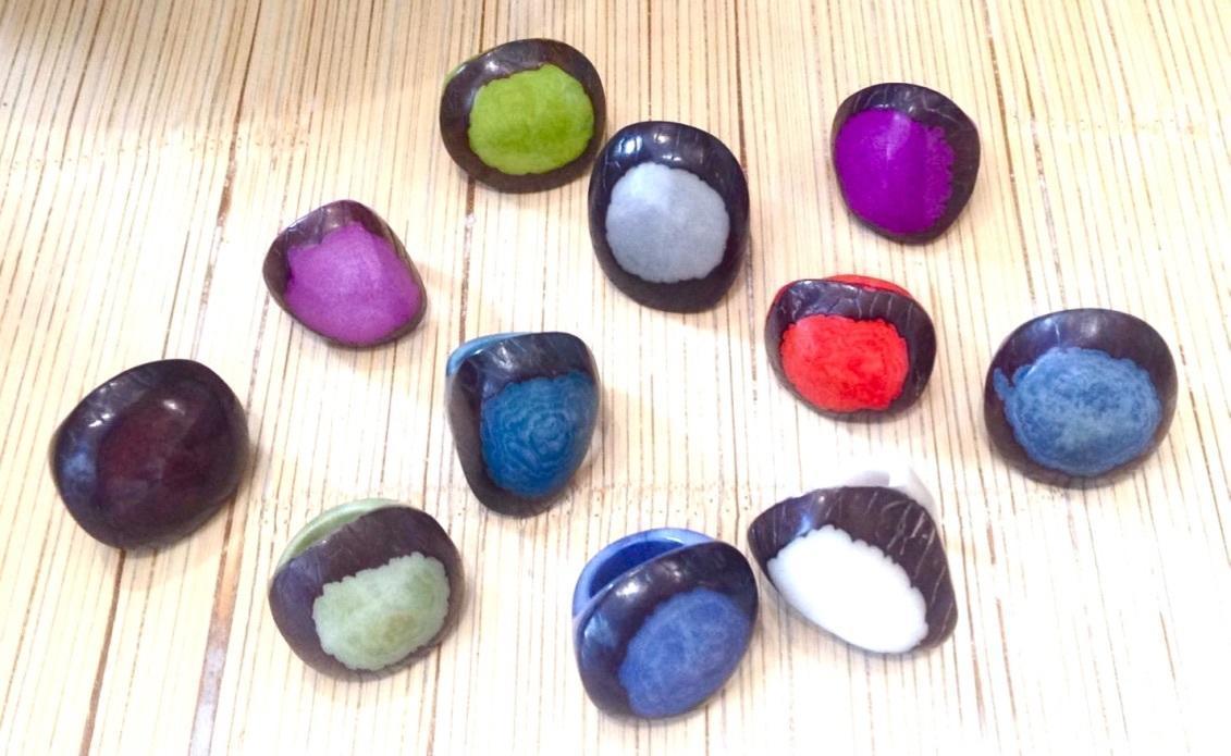 Batik /or Monocoloured Tagua chunky ring | Trada Marketplace