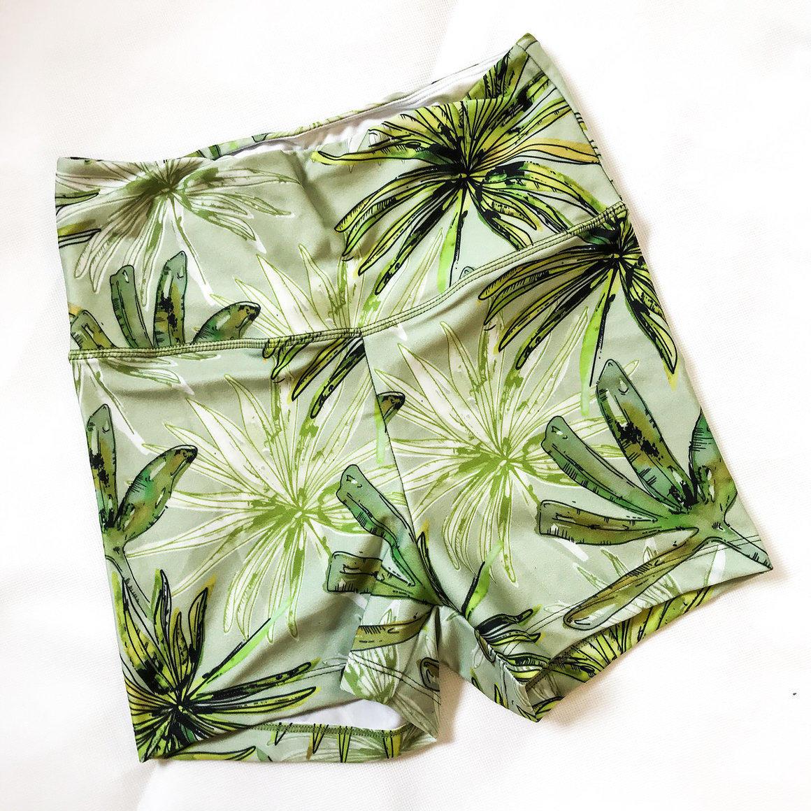 Short Shorts-Green Leaves Watercolour   Trada Marketplace