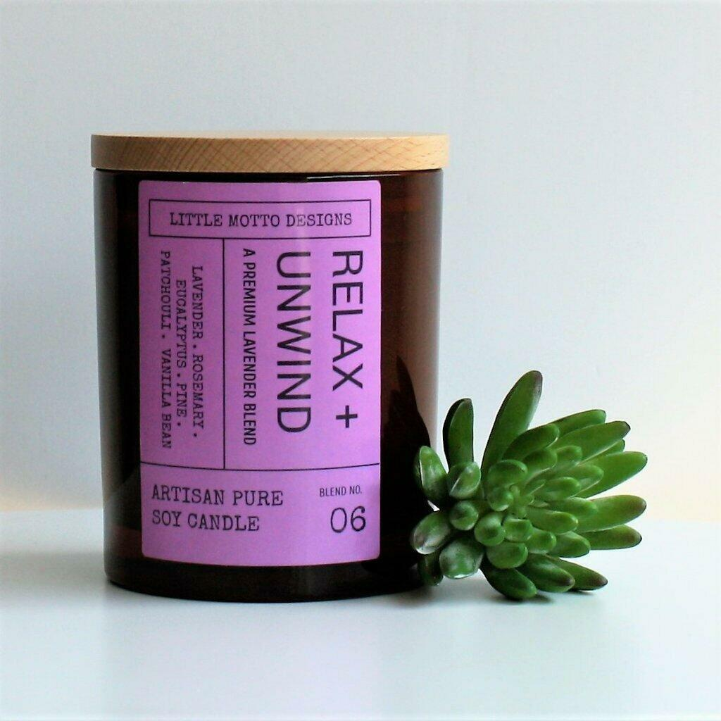 Amber Brights Large Boxed Soy Candle - Relax & Unwind | Trada Marketplace