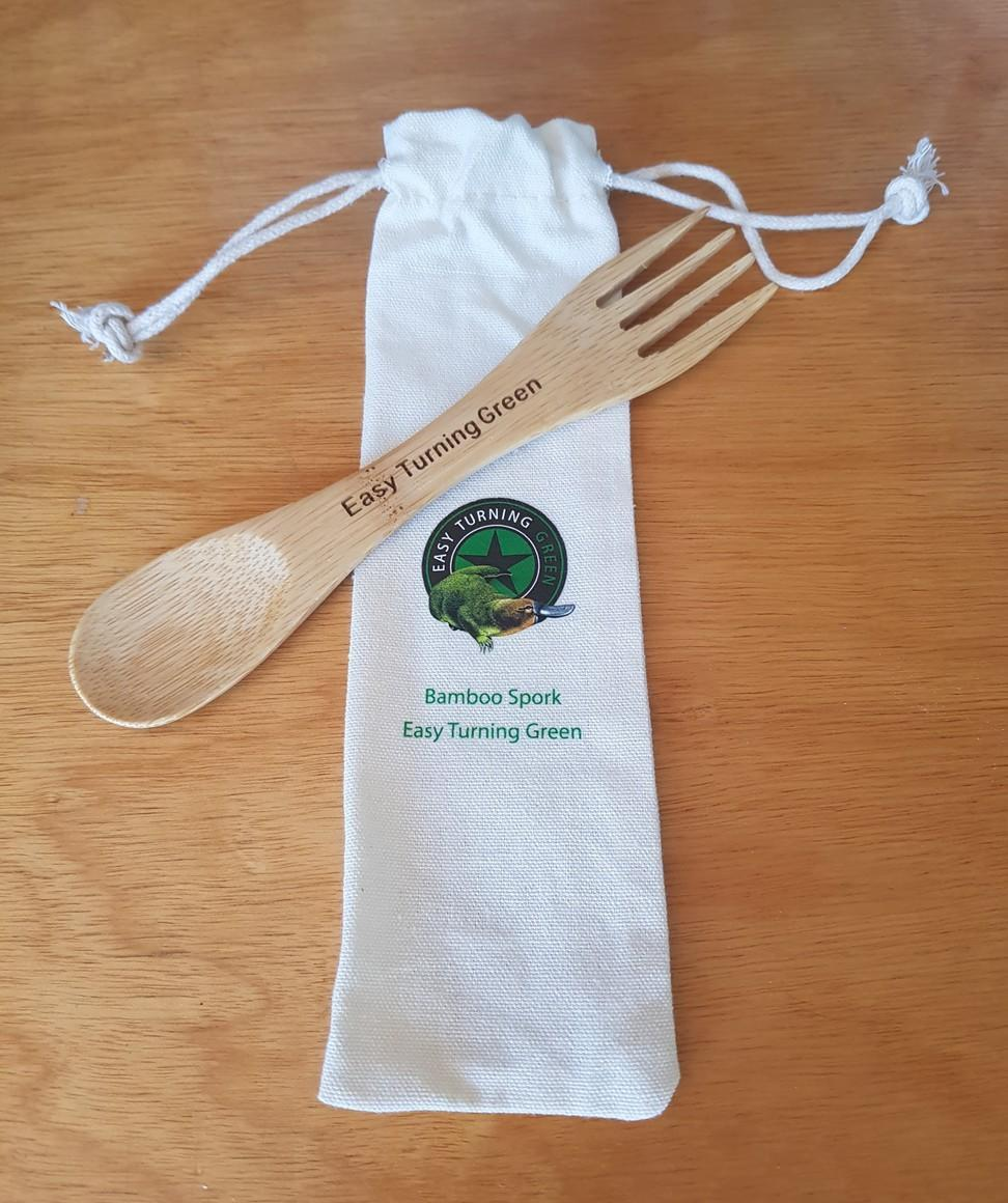 Bamboo Spork with Cotton Canvas Pouch | Trada Marketplace