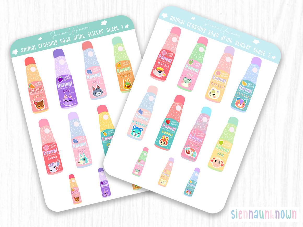 Animal Crossing drink sticker sheets | Trada Marketplace